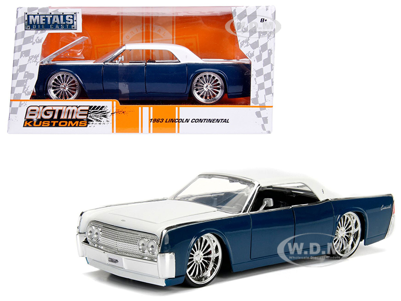 1963_Lincoln_Continental_Navy_Blue_with_White_Top_124_Diecast_Model_Car_by_Jada