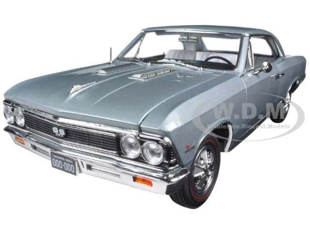 1966 Chevrolet Chevelle SS Silver  Chateau Slate Limited Edition to 1002pc 1 18 Diecast Model Car by Autoworld