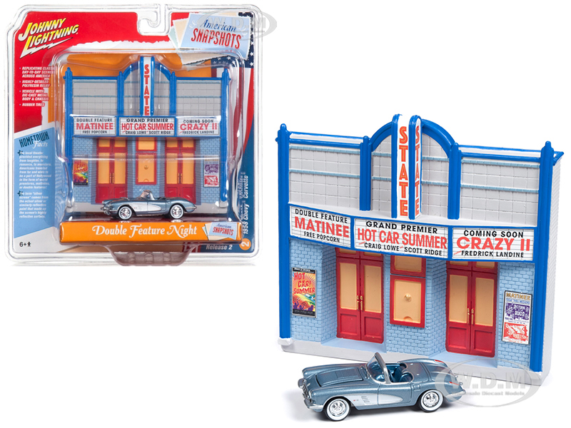 1958 Chevrolet Corvette Convertible Blue and Resin Movie Theater Facade Double Feature Night 164 Diecast Model by Johnny Lightning