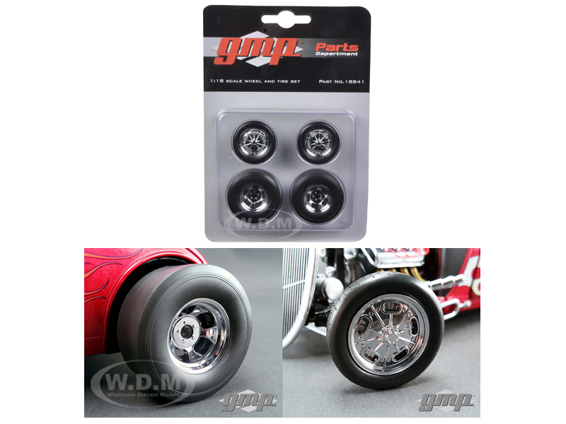 Wheels and Tires Set of 4 Chromed Hot Rod Drag 1/18 by GMP