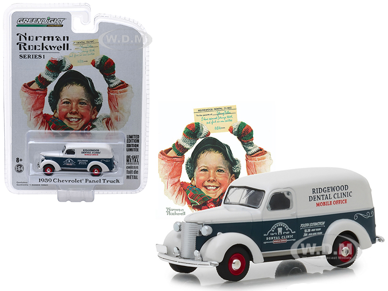 1939_Chevrolet_Panel_Truck_Blue_and_White_Ridgewood_Dental_Clinic_Mobile_Office_Norman_Rockwell_Delivery_Vehicles_Series_1_164_Diecast_Model_Car