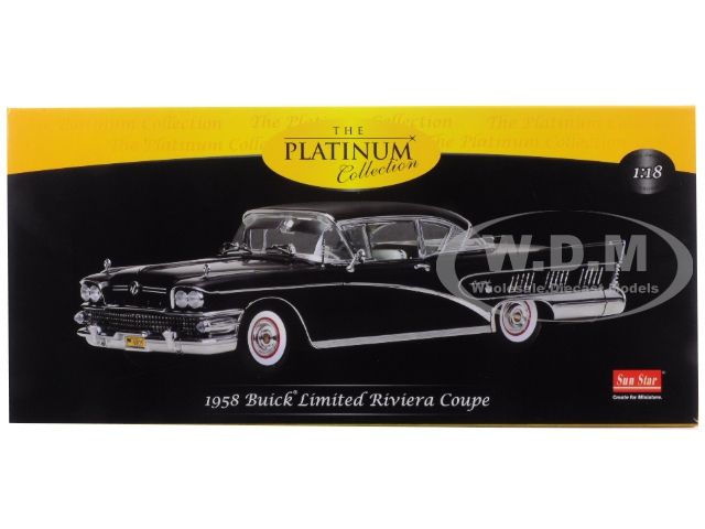 1958-buick-riviera-coupe-black-charcoal-platimun-series-118-diecast-model-car-by-sunstar