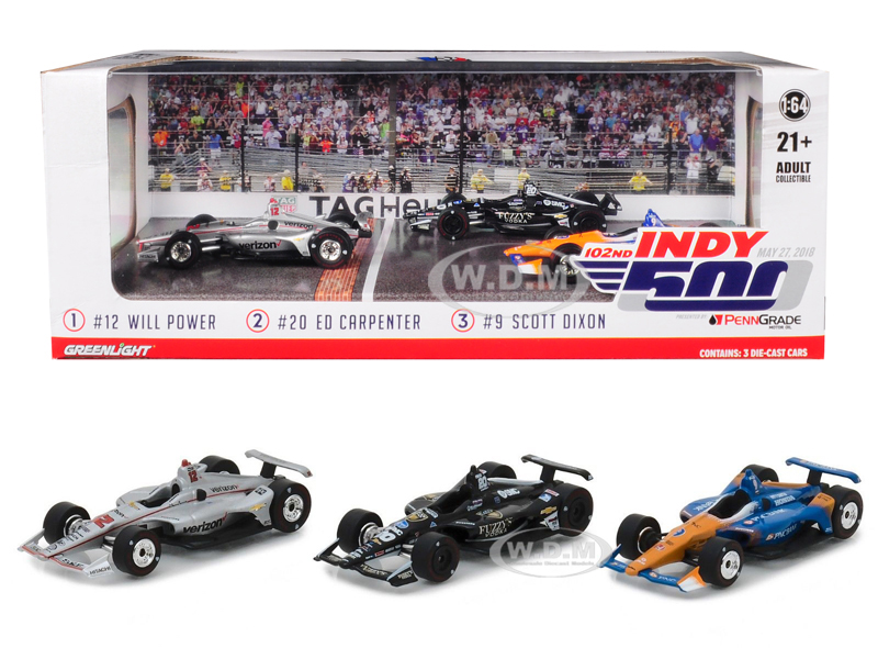 2018_Indianapolis_500_Podium_3_piece_Set_164_Diecast_Model_Cars_by_Greenlight