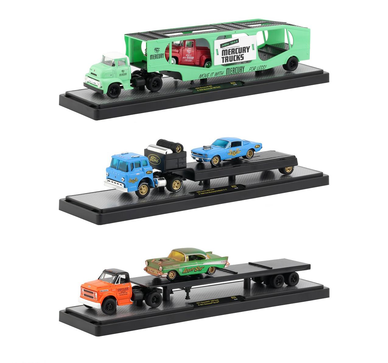 Auto Haulers Release 33 3 Trucks Set 1/64 Diecast Models By M2 Machines