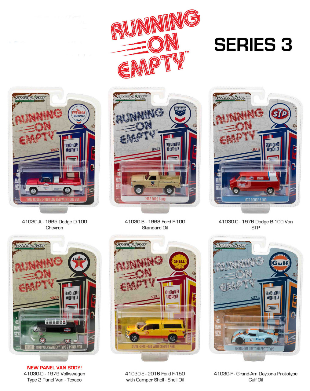 Running on Empty Series 3 6pc Diecast Car Set 1/64 Diecast Model Cars by Greenlight