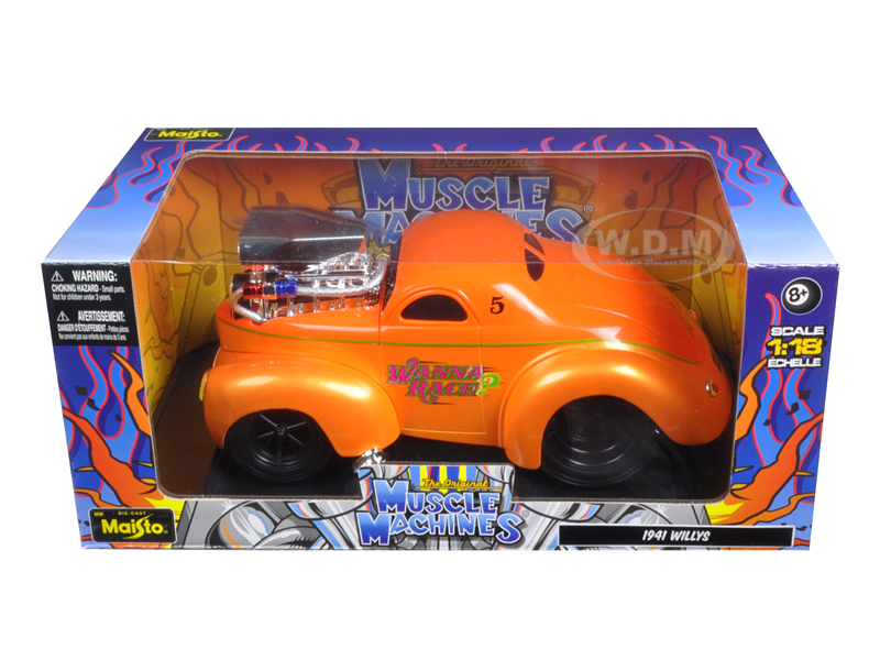 1941 Willys Coupe Metallic Orange Muscle Machines 1/18 Diecast Model Car By Maisto