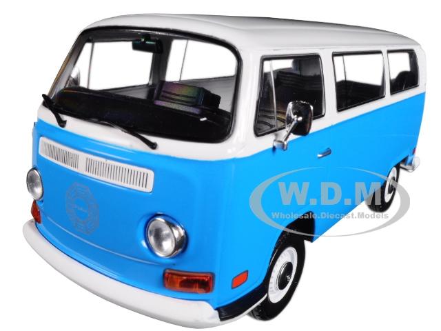 1971 Volkswagen Type 2 (T2B) Dharma Van Blue With White Top Lost (2004-2010) TV Series 1/24 Diecast Model By Greenlight