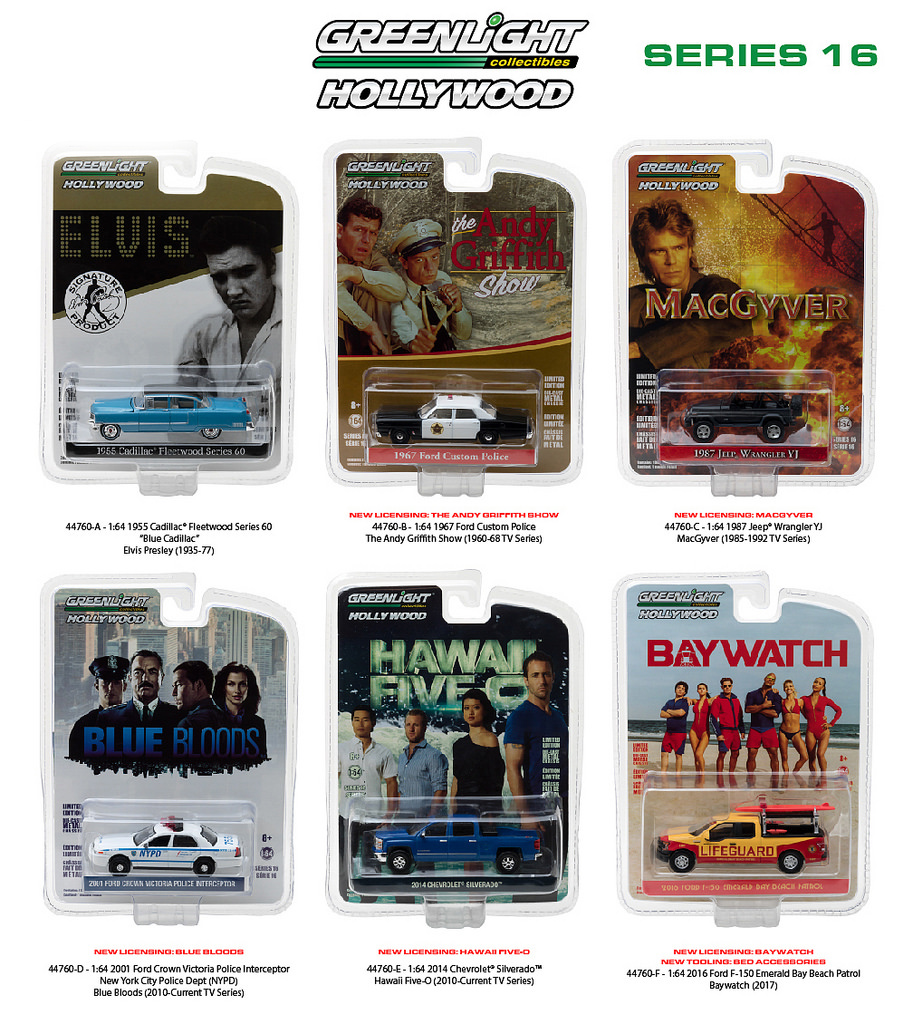 Hollywood Series / Release 16 6pc Diecast Car Set 1/64 Diecast Model Cars by Greenlight