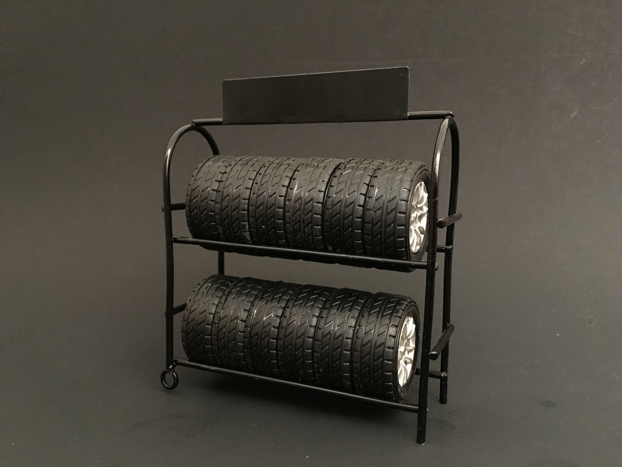Metal Tire Rack with Tires and Rims for 1/18 Scale Models by American Diorama