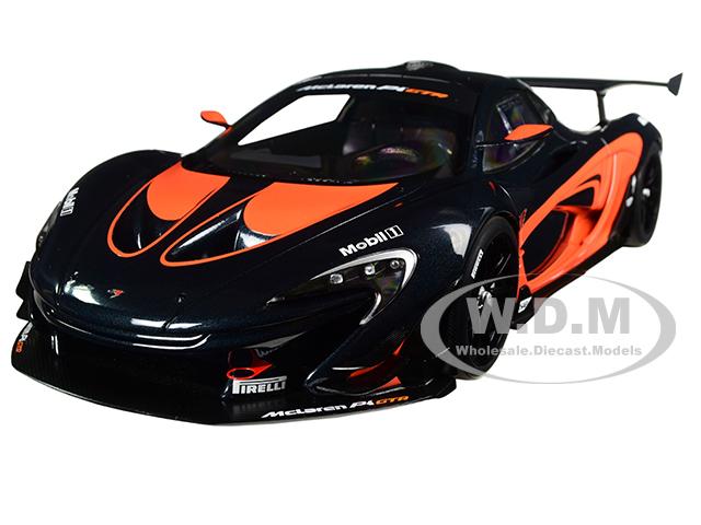 Mclaren P1 Gtr Dark Grey With Orange Accents 1/18 Model Car By Autoart