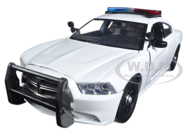 2011 Dodge Charger Pursuit Police Car White with Flashing Light Bar Front and Rear Lights and 2 Sounds 1/24 Diecast Model Car  by Motormax