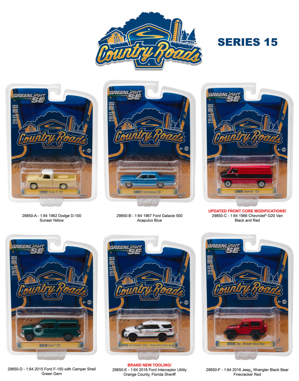 Country Roads / Release 15 6pc Diecast Car Set 1/64 Diecast Model Cars by Greenlight