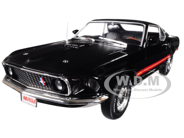 1969 Ford Mustang Mach 1 Raven Black with Red Stripes