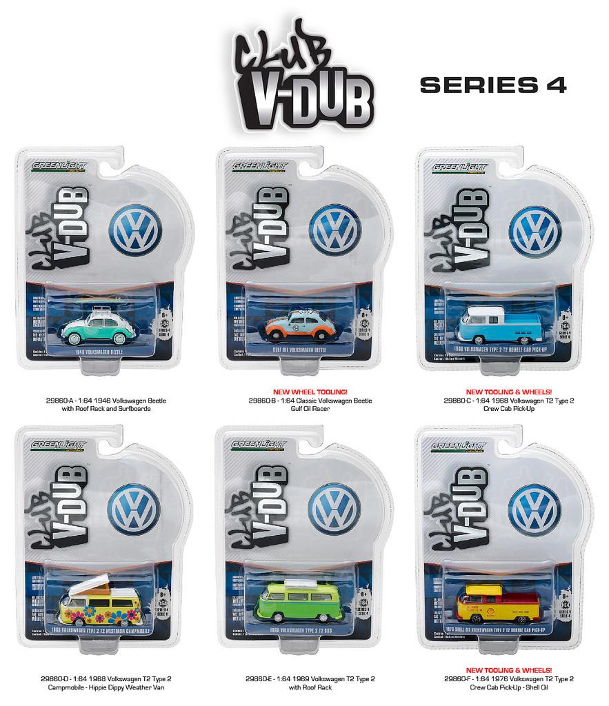 Greenlight Vee Dub Series 4 6pc Diecast Car Set 1/64 Diecast Model Cars by Greenlight