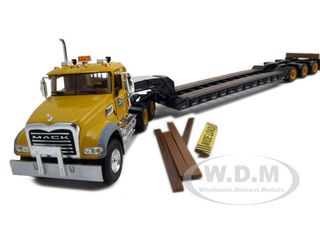 Mack Granite MP with Tri-Axle Lowboy Trailer Diecast Model 1/50 Yellow by First Gear