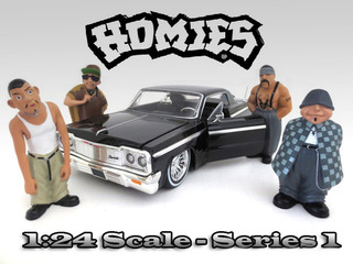 "Big Loco Chango Eightball Mr. Raza.Comes in a blister pack.Only four figures will be received.Each standing figure is approximately 3 inches tall.""Homies"" Figure Set of 4pc For 1:24 Scale Diecast Model Cars by American Diorama."