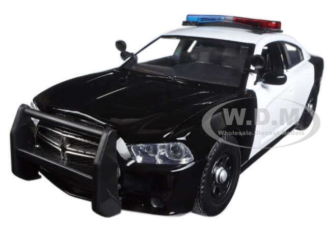 2011 Dodge Charger Pursuit Police Car Black and White with Flashing Light Bar Front and Rear Lights and 2 Sounds 1/24 Diecast Model Car by Motormax