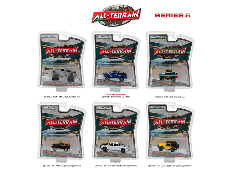All Terrain Series 5 6pc Diecast Car Set 1/64 Diecast Model Cars by Greenlight