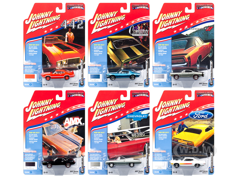 Muscle Cars USA 2017 Set of 6 cars Release C 1/64 Diecast Model Cars by Johnny Lightning
