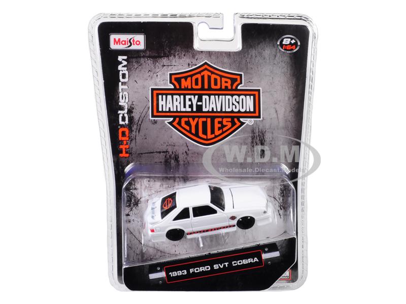 1993_Ford_SVT_Cobra_White_Harley_Davidson_164_Diecast_Model_Car_by_Maisto