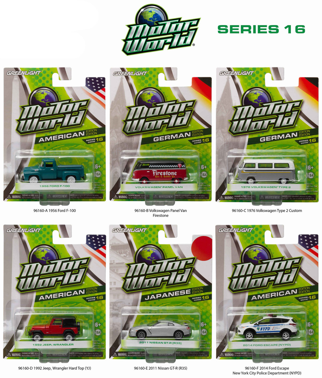 Motor World Series 16 6pc Diecast Car Set 1/64 Diecast Model Cars by Greenlight