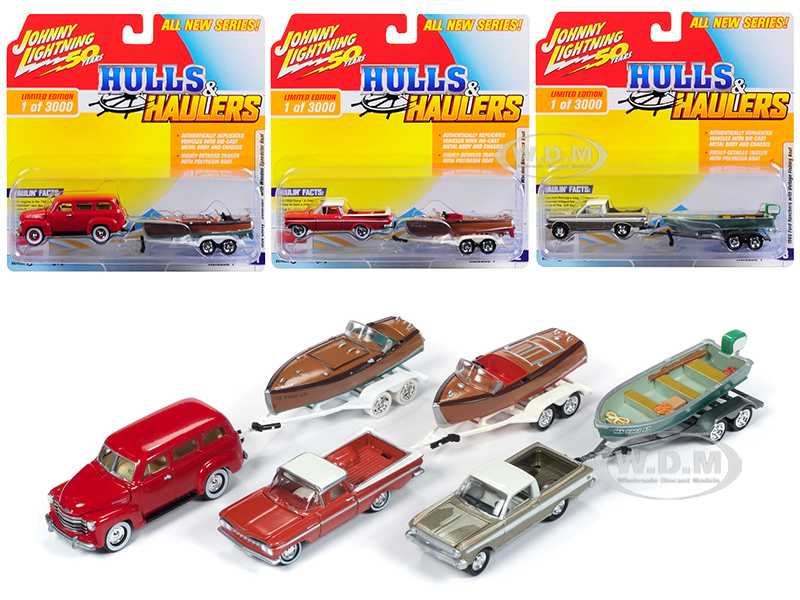 Hulls_&amp_Haulers_Series_1_Set_B_of_3_Cars_Limited_Edition_to_3000_pieces_Worldwide_164_Diecast_Model_Cars_by_Johnny_Lightning