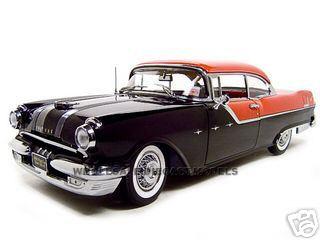 1955 Pontiac Star Chief Hard Top Red/Black Platinum Edition 1/18 Diecast Model Car by Sunstar