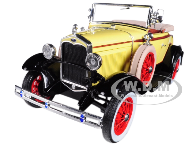 1931_Ford_Model_A_Roadster_Bronson_Yellow_118_Diecast_Model_Car_by_Sunstar
