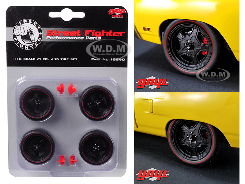 Wheel and Tire Set of 4 Five Spoke from 1970 Plymouth Road Runner Street Fighter 6-Pack Attack 1/18 by GMP