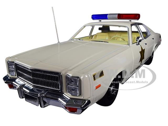 1977_Plymouth_Fury_Hazzard_County_Sheriff_Cream_118_Diecast_Model_Car_by_Greenlight