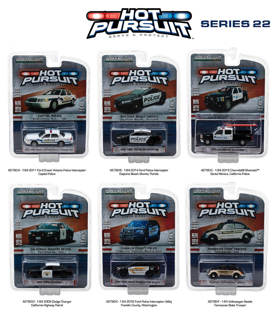 Hot Pursuit Series 22 6pc Diecast Car Set 1/64 Diecast Model Cars by Greenlight