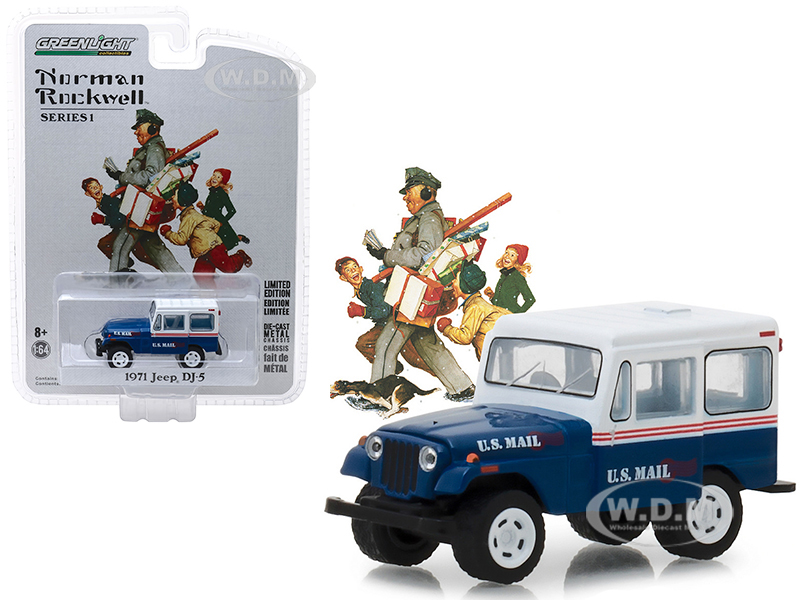1971_Jeep_DJ5_Blue_with_White_Top_US_Mail_Norman_Rockwell_Delivery_Vehicles_Series_1_164_Diecast_Model_Car_by_Greenlight