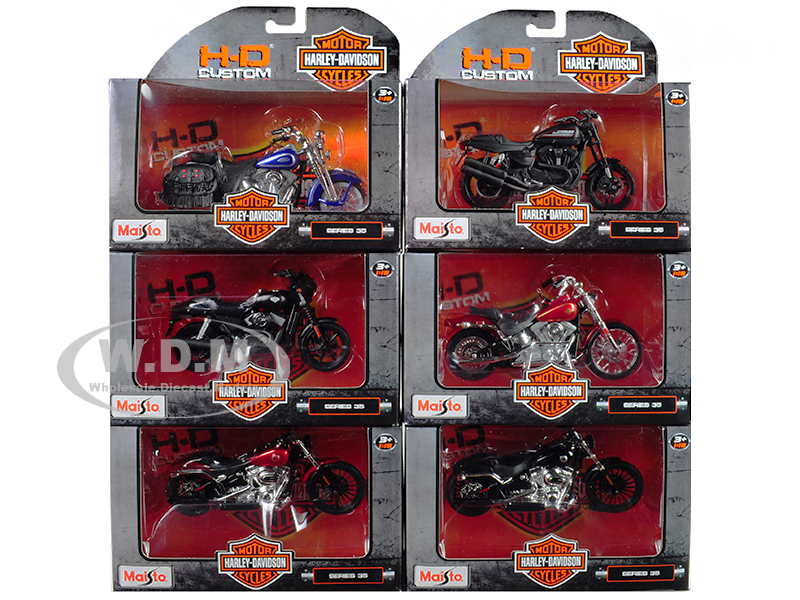 Harley Davidson Motorcycle 6pc Set Series 35 1/18 Diecast Models by Maisto 31360-35