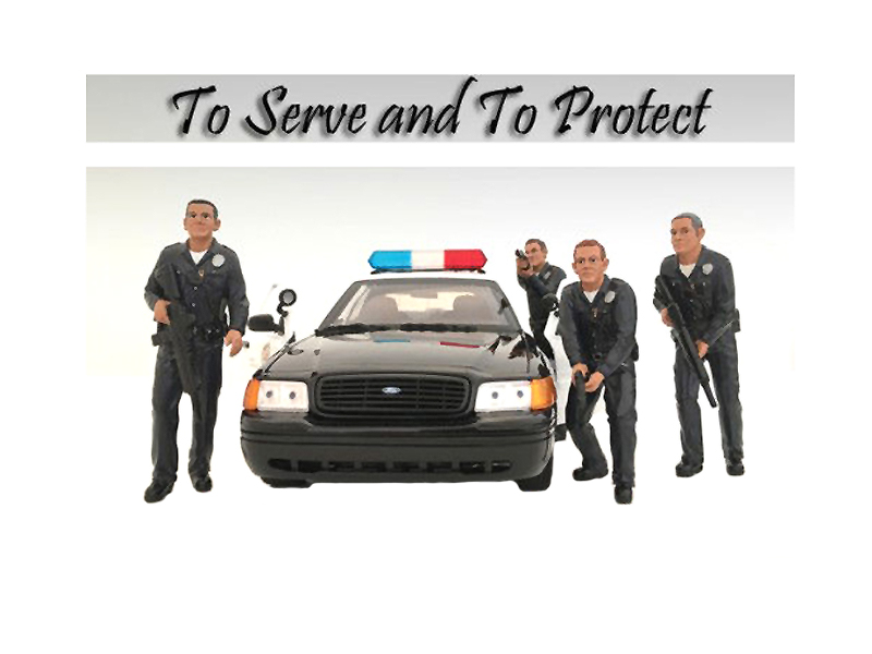 Police Officers 4 Piece Figurine Set for 1/24 Scale Models by American Diorama