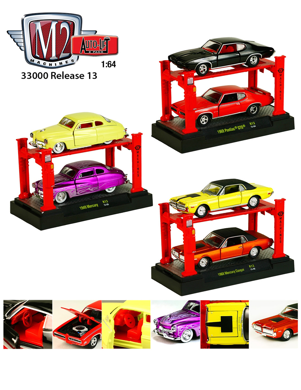 Auto Lift Series 13 6pc Diecast Car Set 1/64 Diecast Model Cars by M2 Machines