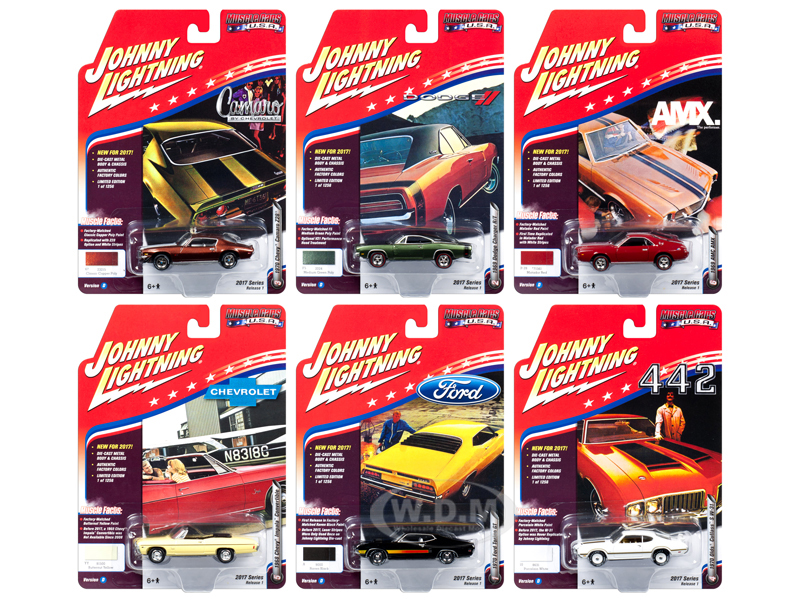 Muscle Cars USA 2017 Set of 6 cars Release D 1/64 Diecast Model Car by Johnny Lightning