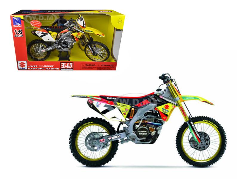 Suzuki Factory Racing RM-Z450 #7 James Stewart Dirt Bike Motorcycle Model 1/6 by New Ray NR49483