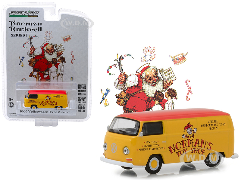 1969_Volkswagen_Type_2_Panel_Van_Yellow_with_Red_Top_Normans_Toy_Shop_Norman_Rockwell_Delivery_Vehicles_Series_1_164_Diecast_Model_by_Greenlight