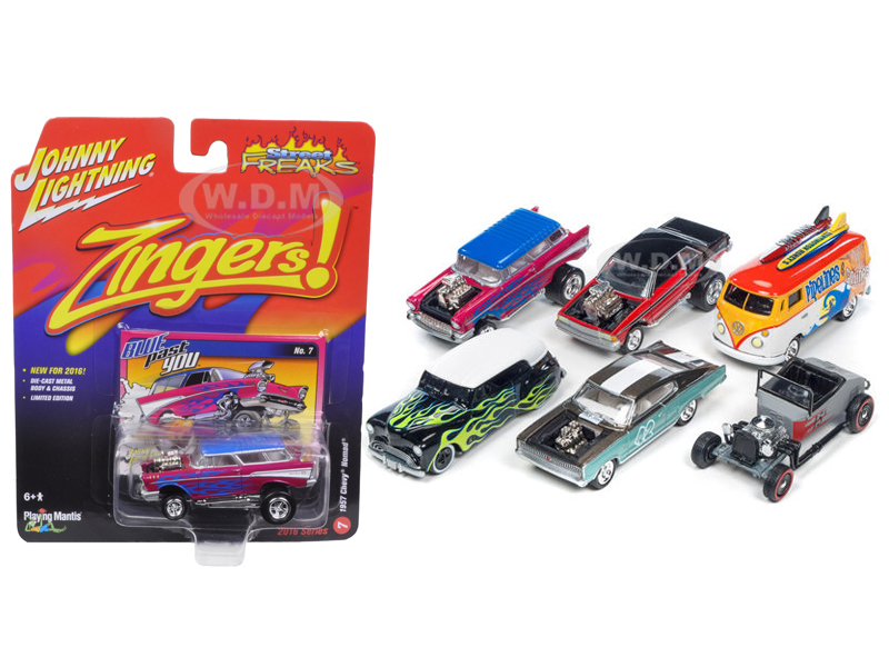 Street Freaks Set of 6 cars Release 2 Set C 1/64 Diecast Model Cars by Johnny Lightning JLSF002-C
