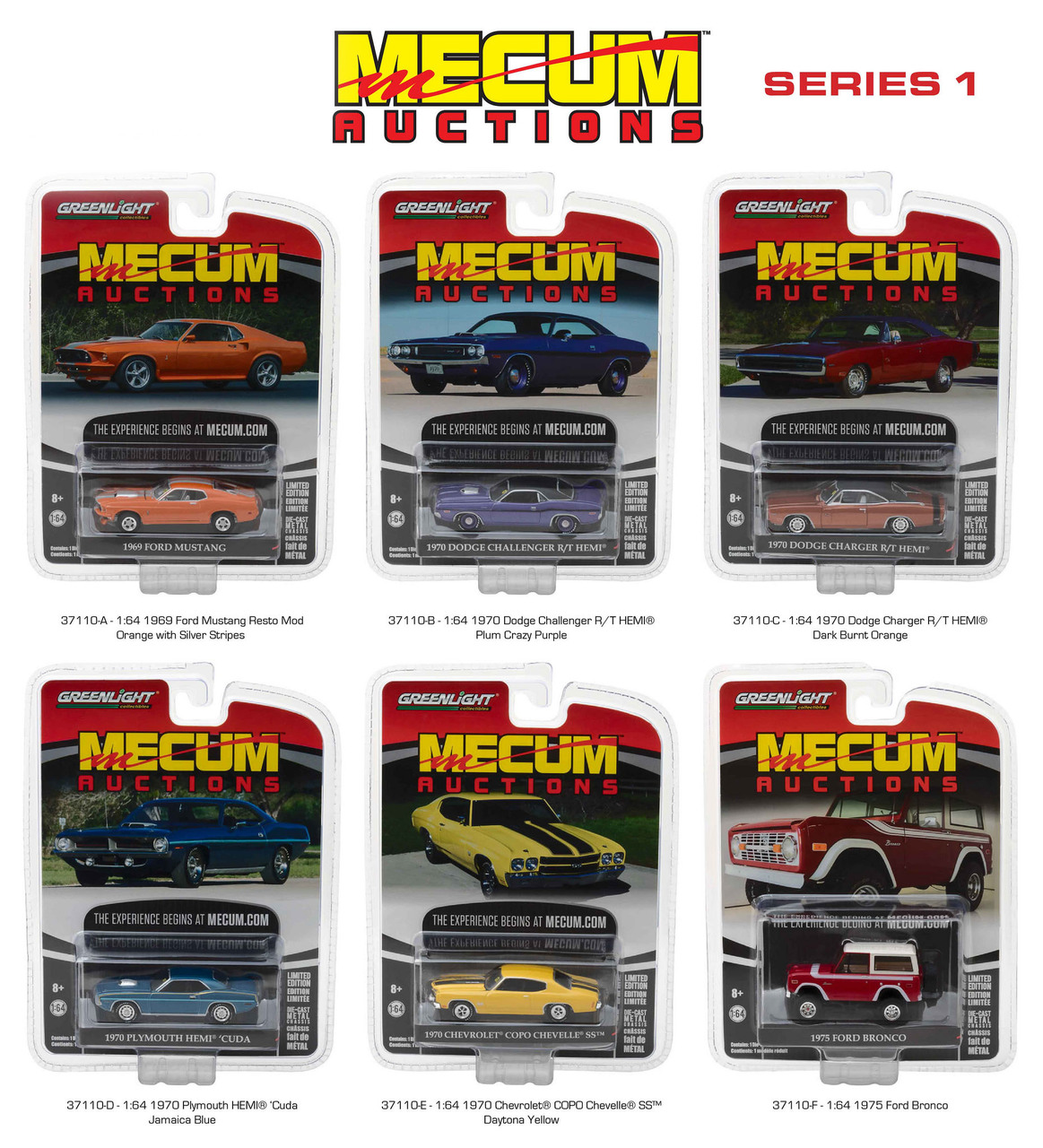 Mecum Auctions Collector Series 1 6pc Diecast Car Set 1/64 Diecast Model Cars by Greenlight