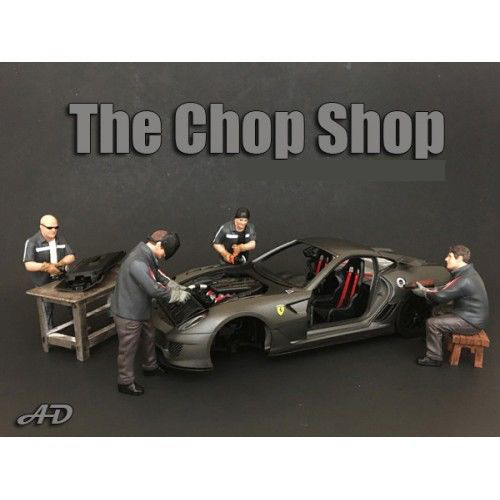"""Chop Shop"" 4 Piece Figure Set for 1:18 Scale Models by American Diorama.Each item is packed in an individual blister pack.Only 4 figures and bench will be received without a car shown.Dimensions of each sitting figure is approximately 2.5 inches tall.Dimensions of each standing figure is approximately 4 inches tall.SET INCLUDES:Mr. Lugnut.Mr. Welder.Mr. Chopman.Mr. Fabricator."