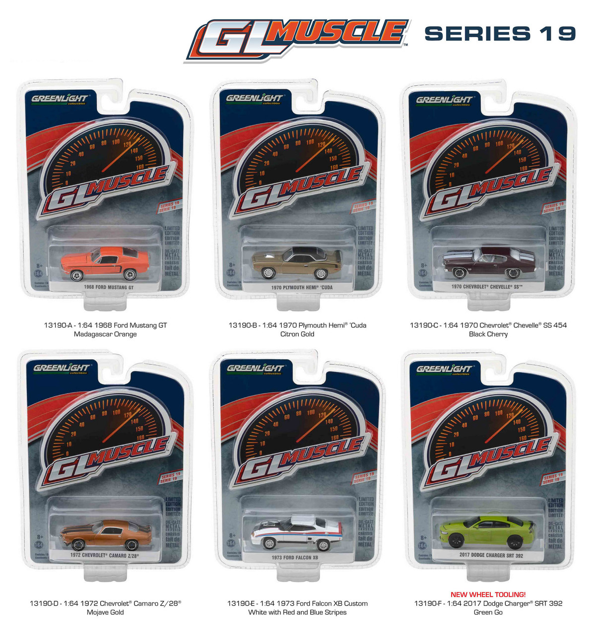 Greenlight Muscle Series 19 6pc Diecast Car Set 1/64 Diecast Model Car by Greenlight