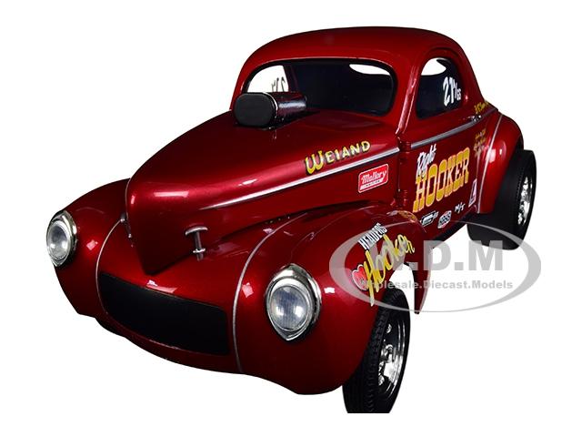 "1941 Gasser ""hooker Headers"" Metallic Red 1/18 Diecast Model Car By Acme"