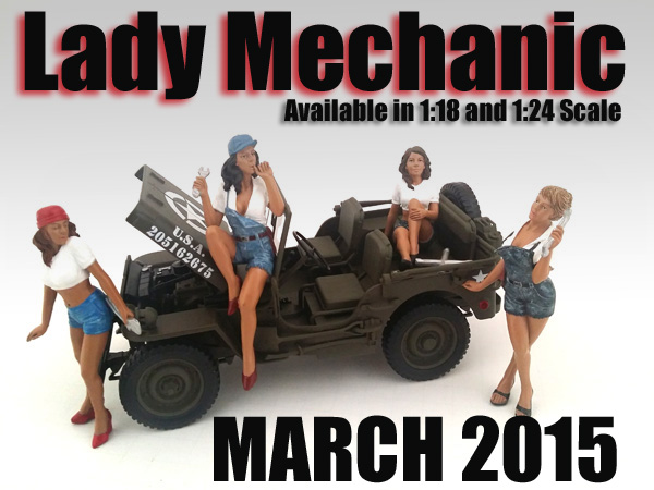 "Packed in a blister pack.Only 4 figures will be received.Dimensions of the figures are between 2 and 4 inches.""Lady Mechanics"" 4 Piece Figure Set For 1:18 Scale Models by American Diorama."
