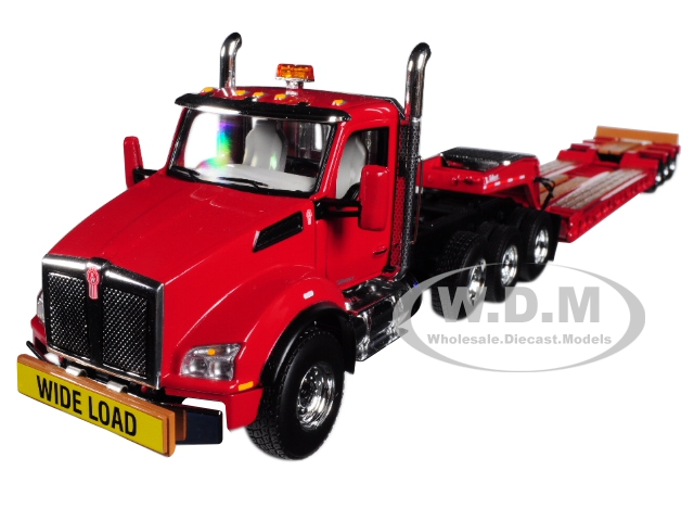 Kenworth T880 Tri Axle Lowboy Trailer Red 1/50 Diecast Model by First Gear