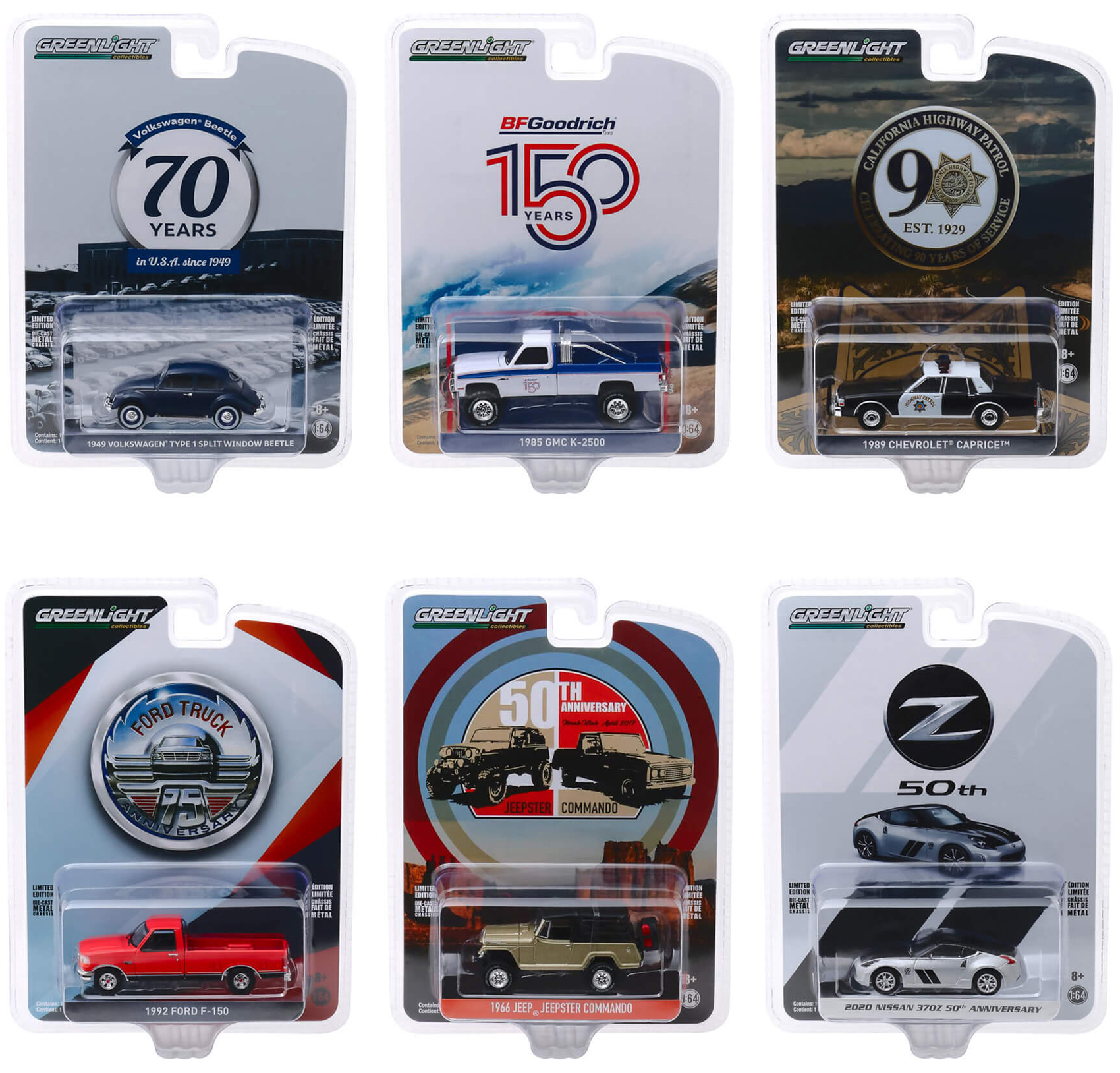 """""""Anniversary Collection"""" Series 10 6 piece Set 1/64 Diecast Model Cars by Greenlight"""