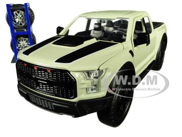 2017 Ford F-150 Raptor Pickup Truck Off White with Black Stripes and Extra Wheels