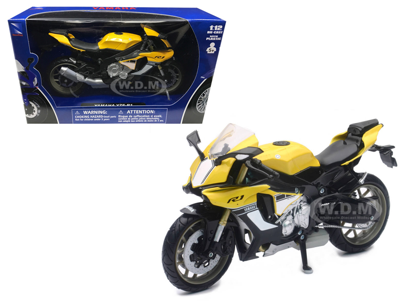 2016 Yamaha YZF-R1 Yellow Motorcycle Model 1/12 by New Ray 57803B