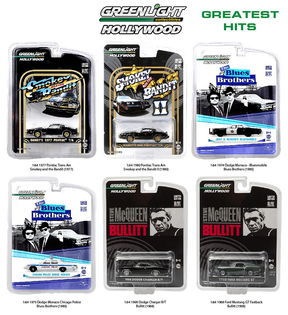 Hollywood Series Greatest Hits 6pc Diecast Car Set 1/64 Diecast Model Cars by Greenlight