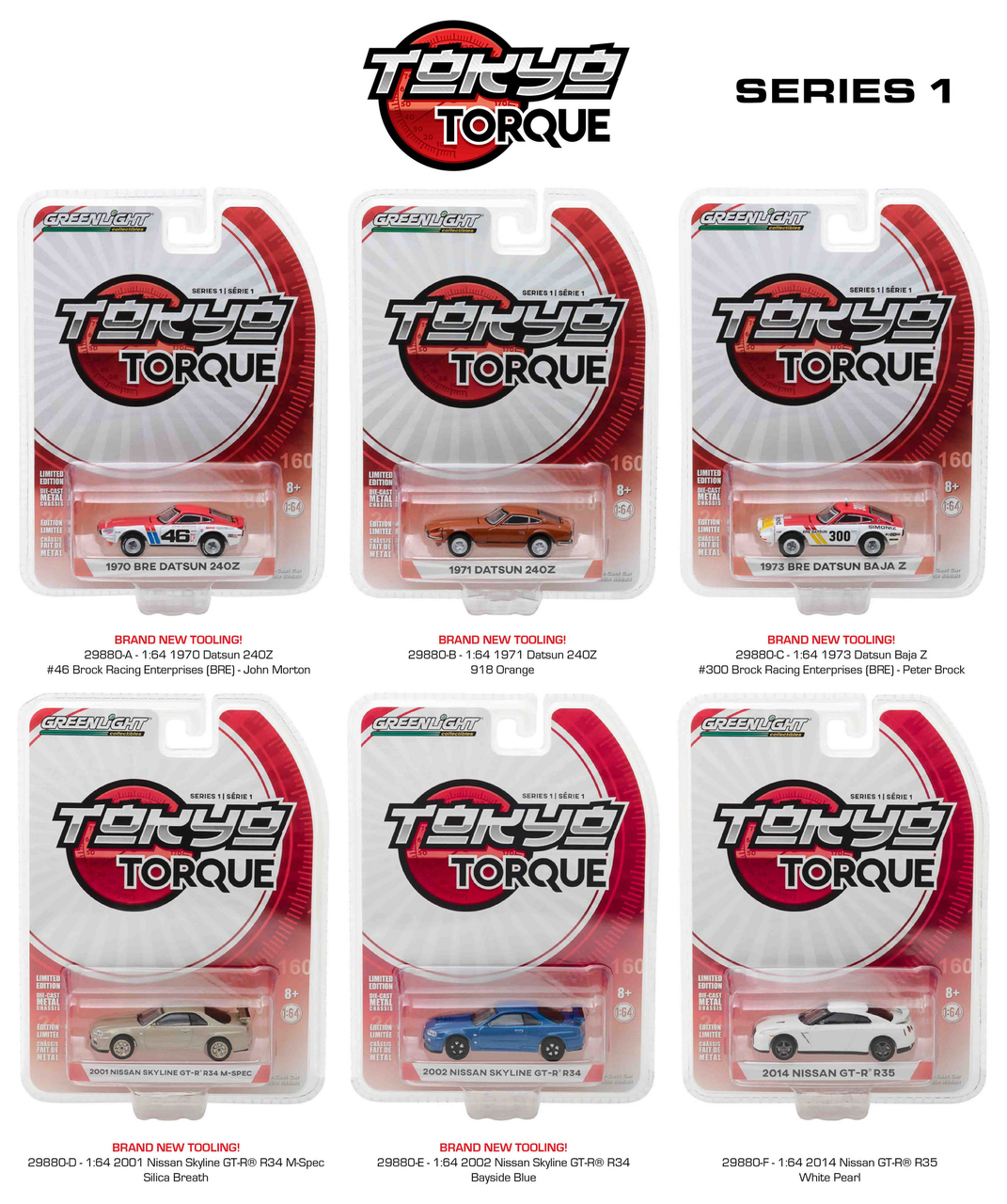 Tokyo Torque Series  / Release 1 6pc Set 1/64 Diecast Model Cars By Greenlight